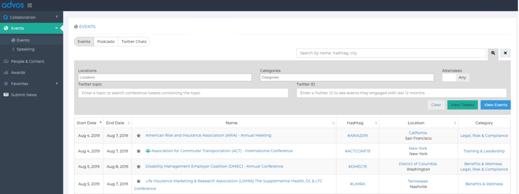 Event search on the advos platform